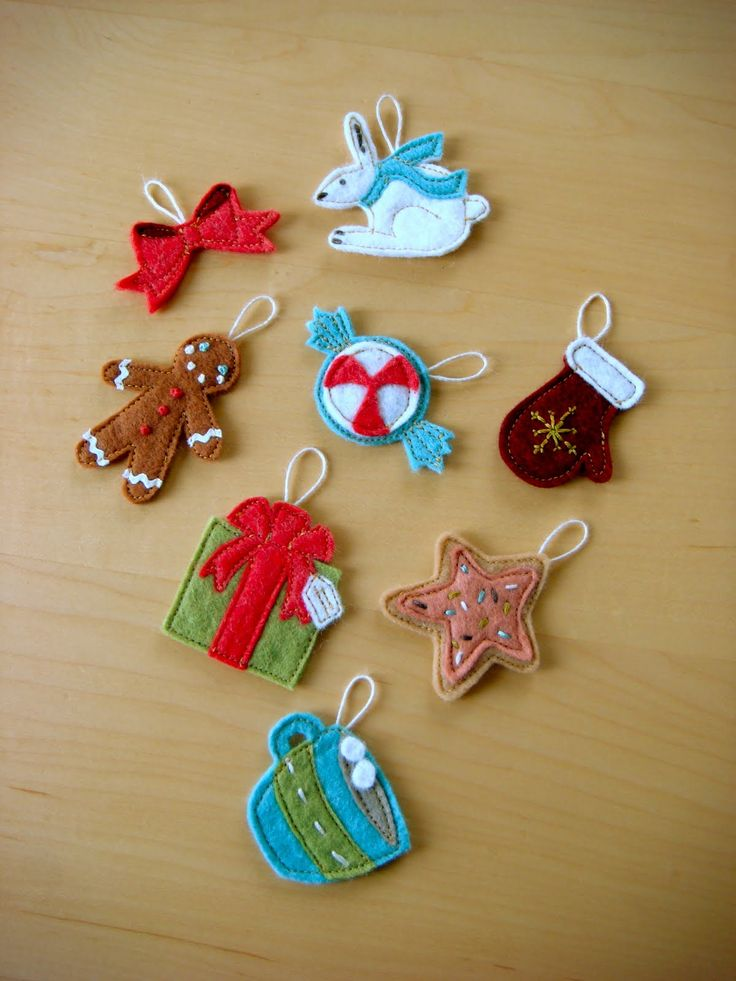 Felt advent calender ornaments