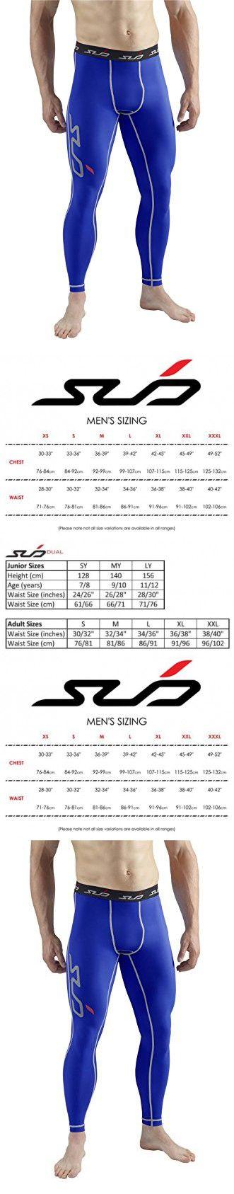 SUB Sports DUAL (All Season) Mens Compression Leggings / Pants - Base Layer Tights - Royal - L