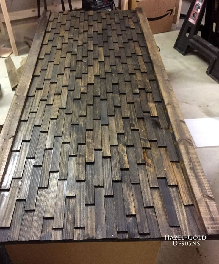 wood shim headboard stained