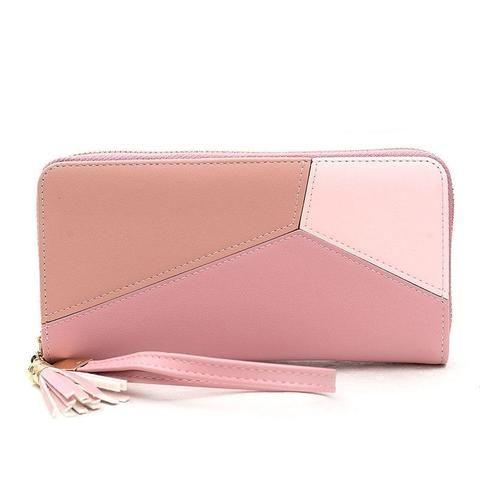 New Fashion Women Wallets PU Leather Zipper Stitching Wallet Women s Long  Design Purse Clutch Wrist Brand Mobile Bag f2008e677903