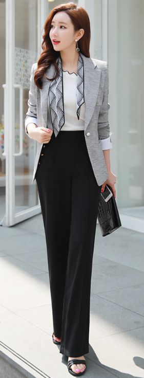 StyleOnme_Front Button Detail Wide Leg Dress Pants #black #dresspants #wideleg #chic #feminine #officelook #koreanfashion #kstyle #kfashion #seoul