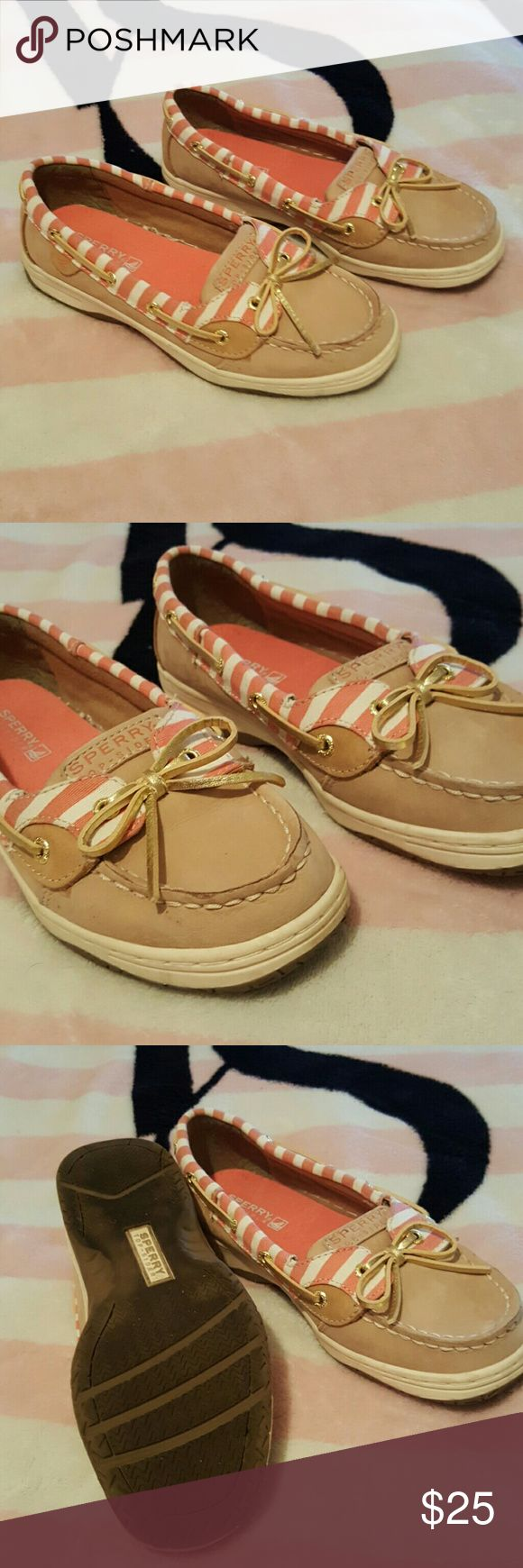 Sperry top sider shoes Tan with pink and white top sider shoes, gold tone laces ... worn maybe 4 times .. size 4M in youth .. woman size 6 .. PLEASE MAKE OFFER :) Sperry Top-Sider Shoes Flats & Loafers