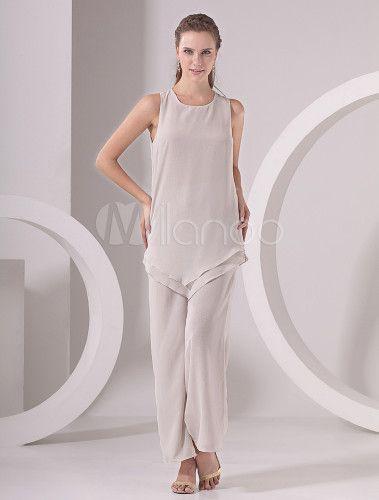 Classic Three-Piece White Chiffon Mother of the Bride Dress - Milanoo.com
