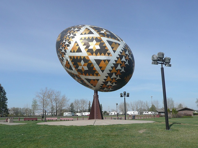 A monument of Ukrainian Easter Eggs in Vegreville, Canada
