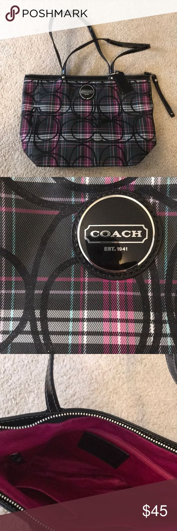 Coach tote bag Magenta, grey and white plaid tote bag with patent leather straps and glittery C's. Gently worn and in very good condition. Definitely an eye catching accessory. Coach Bags Totes