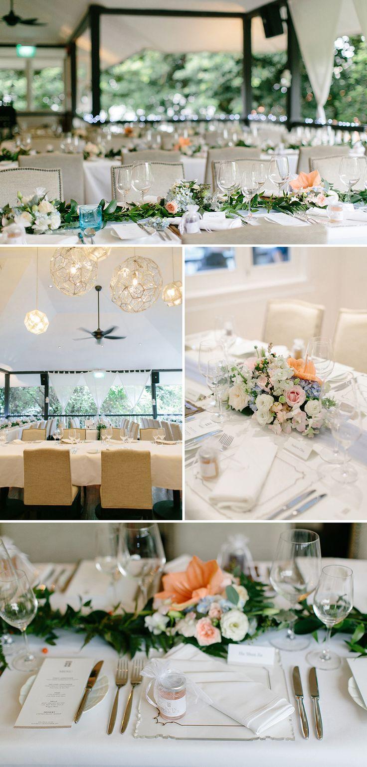 Elegant wedding of dusty blue, grey and peach // Secret Garden: Adam and Yee Ling's Wedding at Lewin Terrace