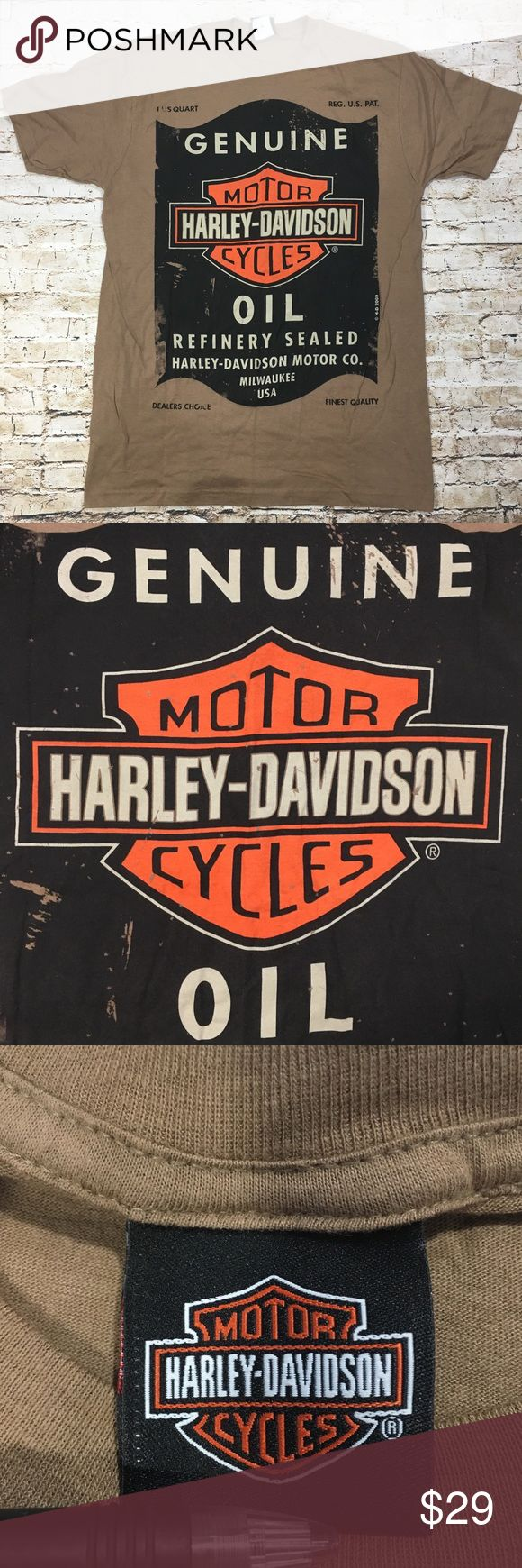 "Harley Davidson Motorcycle Graphic Tee Bahamas *Note* Label reads L but measures like a S  Pre-owned, Harley Davidson tee with unique oil can graphic on front of tee.  ""Bahamas Authorized Dealer"" and graphic on back.  No rips.  No stains.  No tears.    My goal is to make sure that you are satisfied with your purchase.  Please review the following measurements to help ensure proper fit upon the arrival of your new shirt.   Width (armpit to armpit): 20""  Length: 29.5""  Thank you for looking at…"