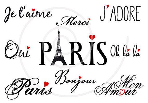 French word art set, digital clipart, Paris, France, Eiffel tower clip art, letter, text for scrapbooking, graphic design, vector, download