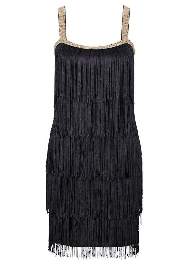 Bekijk nu:Perfect voor elke party! Prachtige jurk in de stijl van de jaren 20met speelse franjes. De bandjes en de hals zijn versierd met pailletten.
