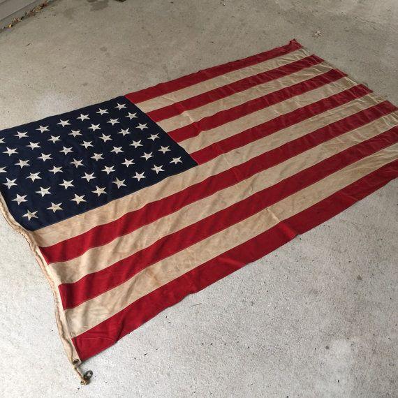 48 Star Flag / Nautical/ American Flag / Linen Flag / 5' X 9.5'