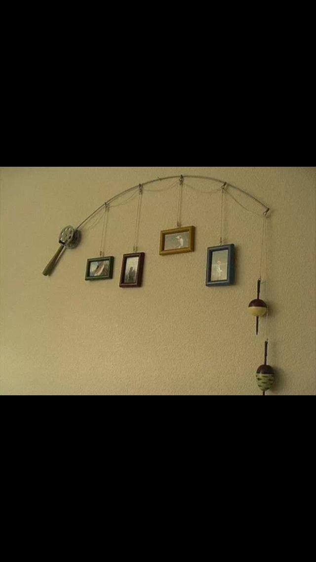 Fishing pole picture rack