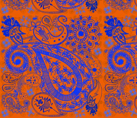 Bug Paisley in blue and Orange fabric by mollymacliving on Spoonflower - custom fabric