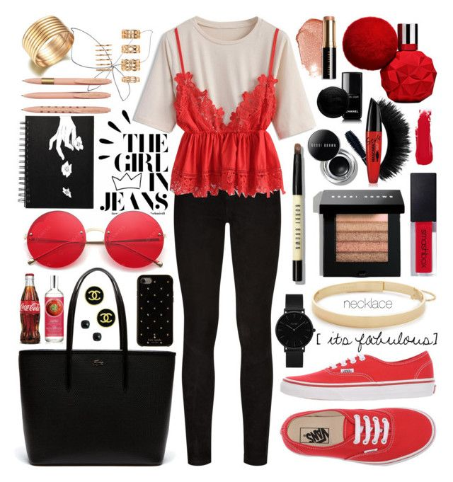 """""""red black lingerie"""" by jk802 ❤ liked on Polyvore featuring Paige Denim, Bobbi Brown Cosmetics, Chicwish, CLUSE, Lacoste, Vans, Eddie Borgo, Kate Spade, Old Navy and Chanel"""
