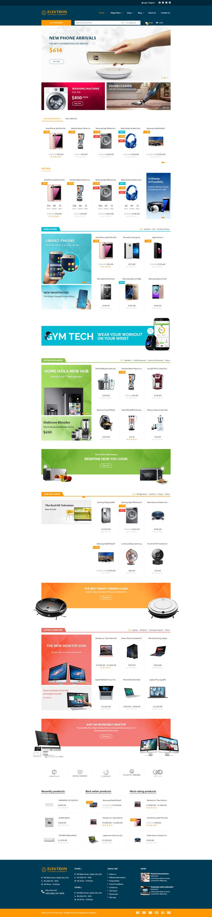 Are you gonna build an attractive online #Electronics Store, Media Center, or Supermarket? Elektron – Multi-Purposes Electronics #WordPress #Theme is a perfect answer for these targets. #website #wordpress #design