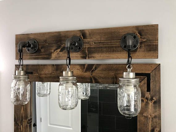Espresso Vanity Light Fixture Country Style Mason Jar Light Etsy Vanity Light Fixtures Rustic Light Fixtures Light Fixtures