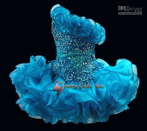 Girl Pageant Dresses Bright Blue Cupcake Short Flower Girl Dresses for Party