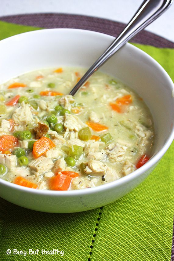 Healthy Creamy Turkey Soup - non-dairy and delicious. Uses a can of light coconut milk to make it creamy.