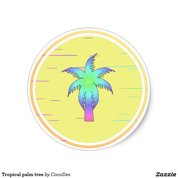 #Tropical #palm tree classic round #sticker #zazzle