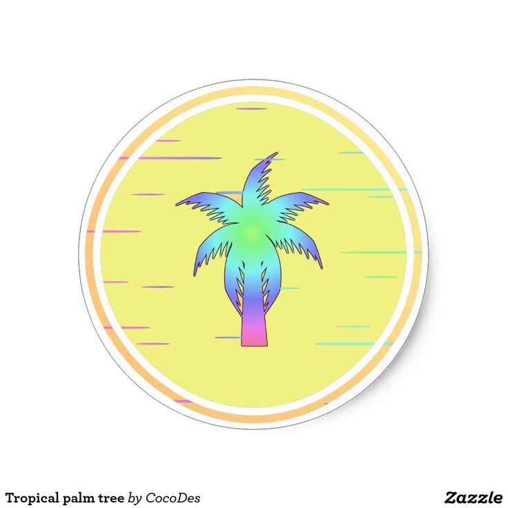 #Tropical #palm tree classic round #sticker #zazzle