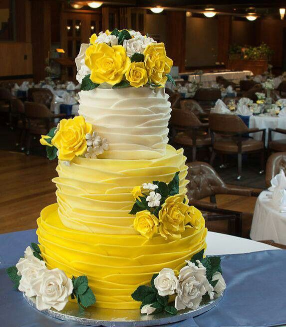 Wedding Cake--yellow ombre and roses cake