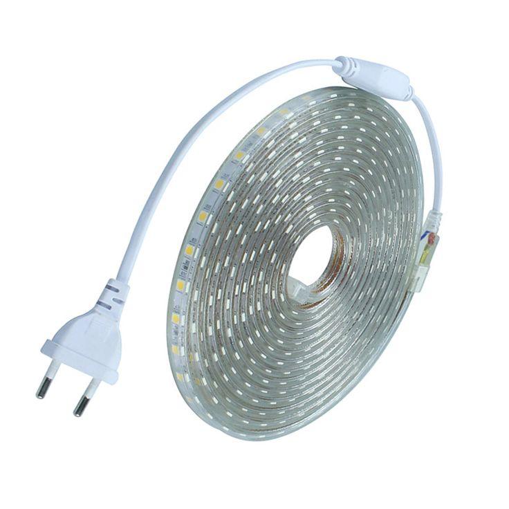 Tahan air SMD5050 AC220V led tape fleksibel led strip 60 leds/Meter outdoor garden lampu dengan UNI EROPA plug