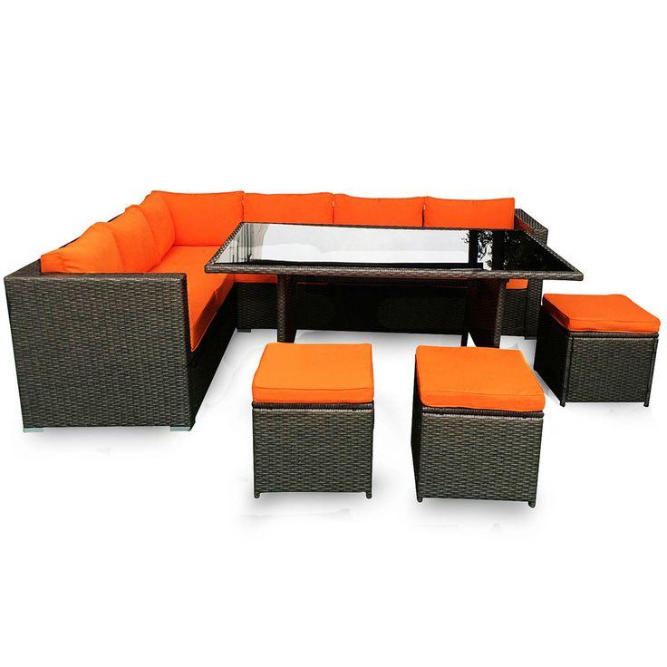 Buy Molokai Wicker Outdoor Sofa Set and 72cm Cast Iron Bowl Fire Pit Bundle Online Australia