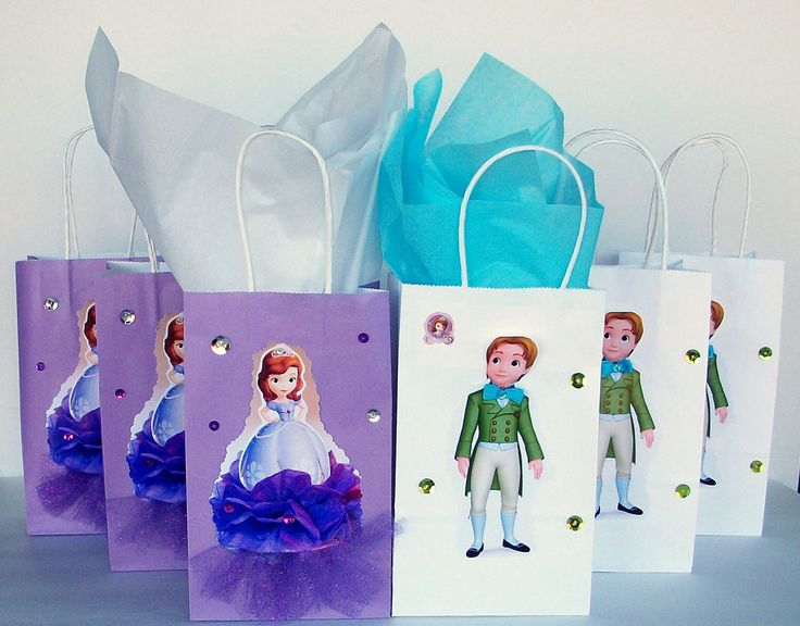 INSPIRED 12pc Princess 6pc Sofia  The First and 6pc James Disney inspierd Birthday Party Favor Goody Gift 3D Bags hand made real picture by felsonmiguelina on Etsy https://www.etsy.com/listing/232689572/inspired-12pc-princess-6pc-sofia-the