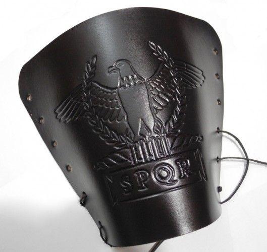 Leather arm guard, tooled leather, Roman eagle and SPQR in tabula ansata, handmade bracer