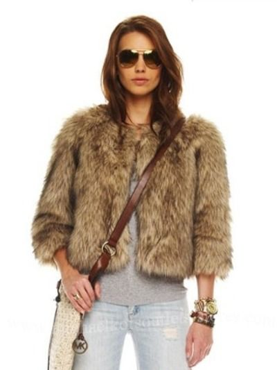 Michael Kors Khaki Basics Faux Fur Coyote Ladies Cropped Jacket Bolero