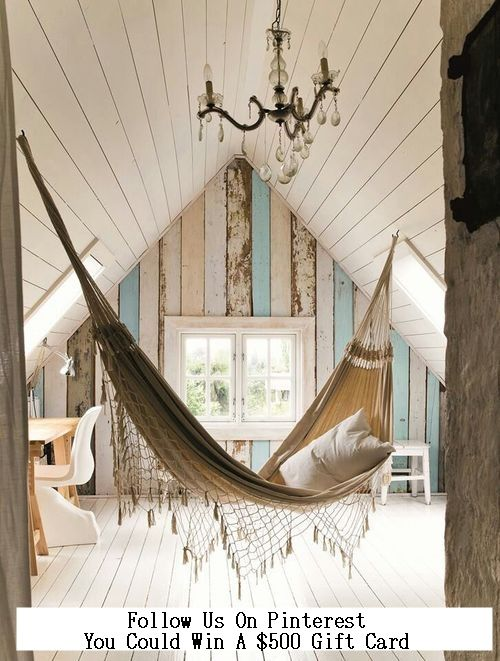 Check out our blog for more amazing interior design ideas. Hammock in the bonus room/playroom?  Perfect retreat!  Love the shabby chic look with white painted hardwood floors, a desk area and vintage chandelier.  Gorgeous distressed sideboards adds character and texture.