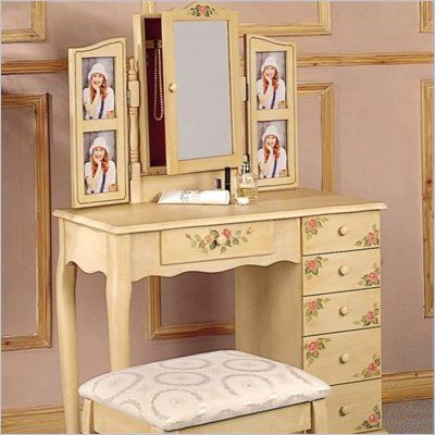 Coaster Hand Painted Wood Makeup Vanity Table Set with Mirror in Ivory - 4038 - Lowest price online on all Coaster Hand Painted Wood Makeup Vanity Table Set with Mirror in Ivory - 4038