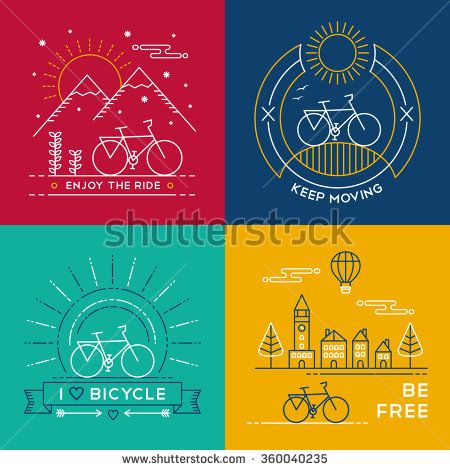 Set of bike poster designs in colorful line art style. Bicycle text quotes, nature, mountain and city elements. EPS10 vector. - stock vector