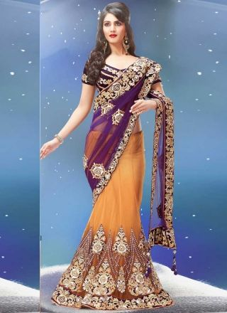 Captivating Cream With Purple Net Designer Bridal Wear Lehenga Saree  http://www.angelnx.com/Sarees/Lehenga-Sarees#/sort=p.date_added/order=DESC/limit=32/page=3