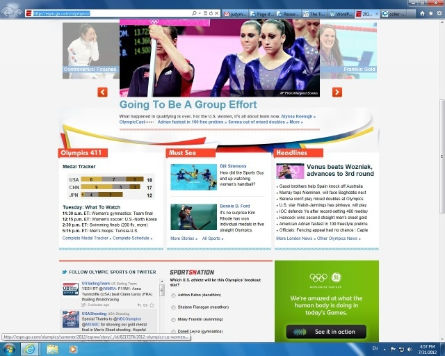 """IMG211: For a second day in a row, an American sport star was chosen to be the big picture on ESPN's site with the """"US"""" banner displayed clearly. Moreover, all the sports news posted revolves around female athletes. Three reports are of US teams and one from a different country which was the same as yesterday's report."""