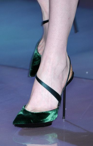 Gorgeous shoes from Giorgio Armani Fall 2010 3 years old and still beautiful. #velvetshoeshighheels