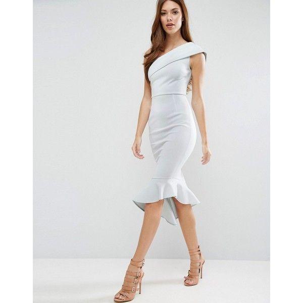 64462275af ASOS Scuba One Shoulder Peplum Midi Dress (€43) ❤ liked on Polyvore  featuring dresses