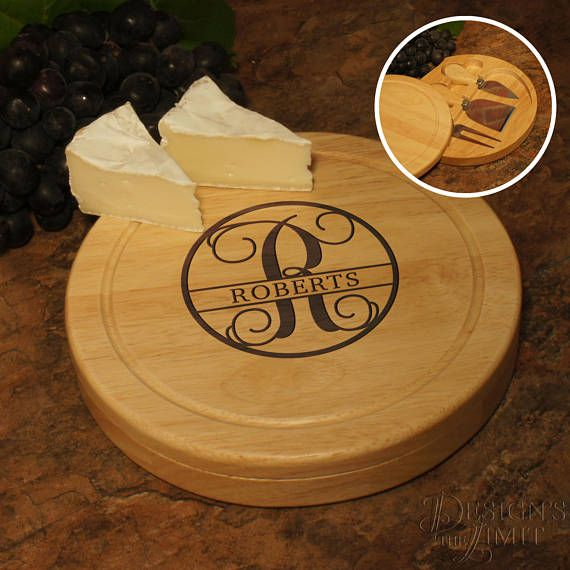 Personalization Cheese Cutting Board and Tool Set with Monogram Designs Options with Optional Engraved Tool Handles (Each) by DesignstheLimit #TrendingEtsy