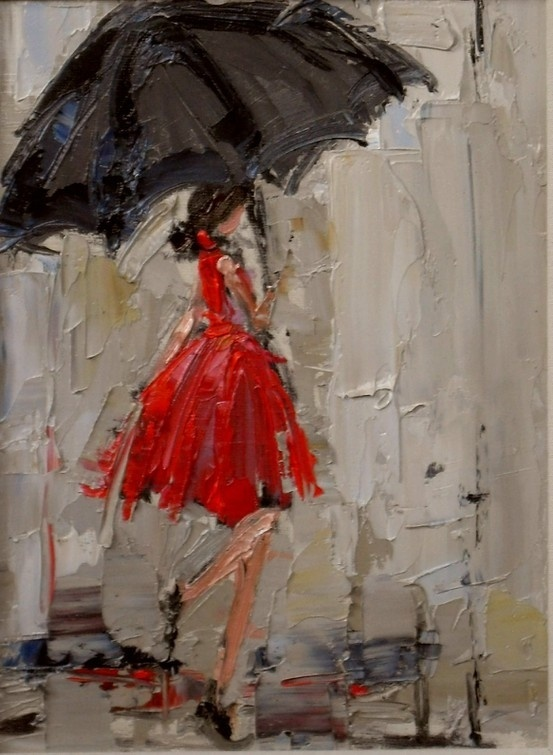 indulgy.com: Umbrellas Paintings, Oil Paintings, Beautiful Paintings, Rainy Day, Color, Dresses, Lady In Red, Brushes Strokes, Rain Paintings