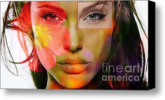 Angleina Jolie Stretched Canvas Print / Canvas Art By Marvin Blaine