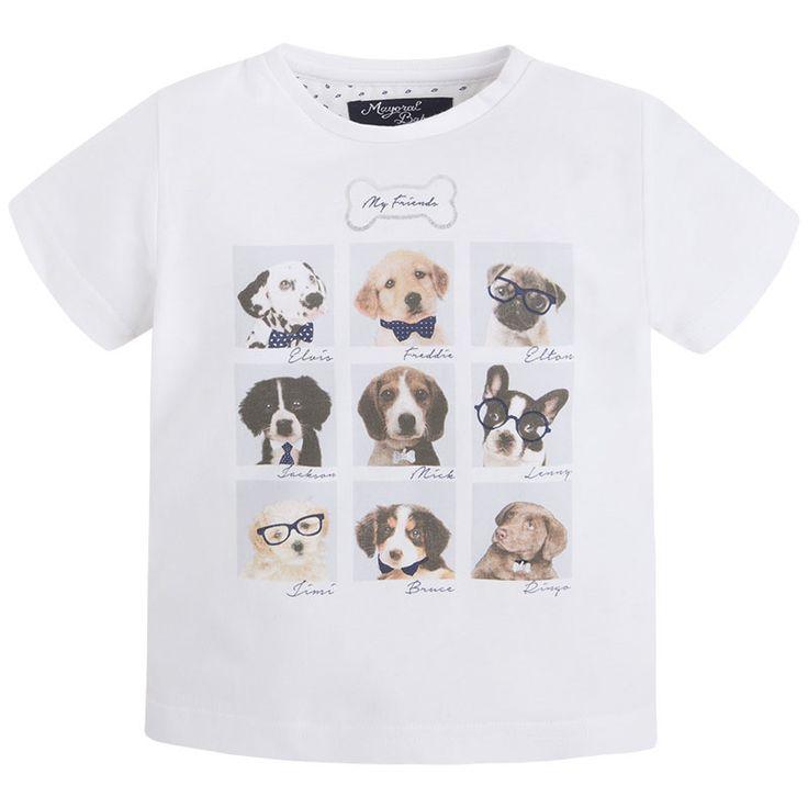 Art 26-01010-010 T-Shirt m/curta cachorros Brancos - Mayoral