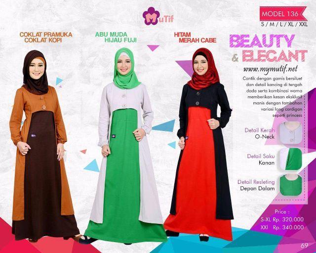 Gamis Mutif Model 136 - Model baju Muslimah yang cantik dengan gamis bersiluet dan detail kancing di tengah dada serta kombinasi warna yang memberikan kesan ...