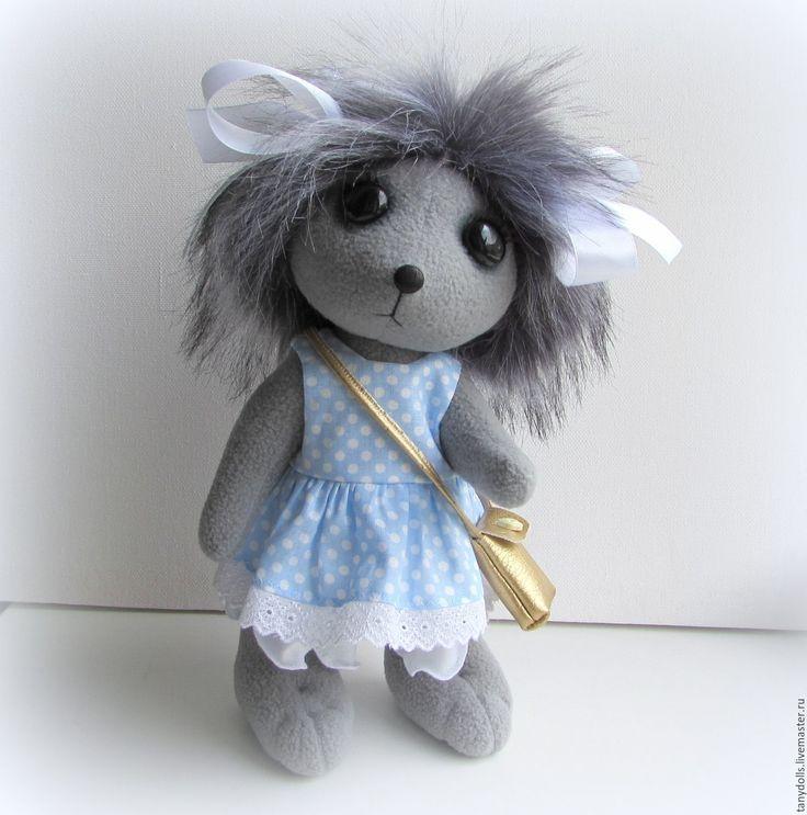 Купить Мягкая игрушка Ежик - девочка, рост - 29 см. - голубой, мягкая игрушка ежик