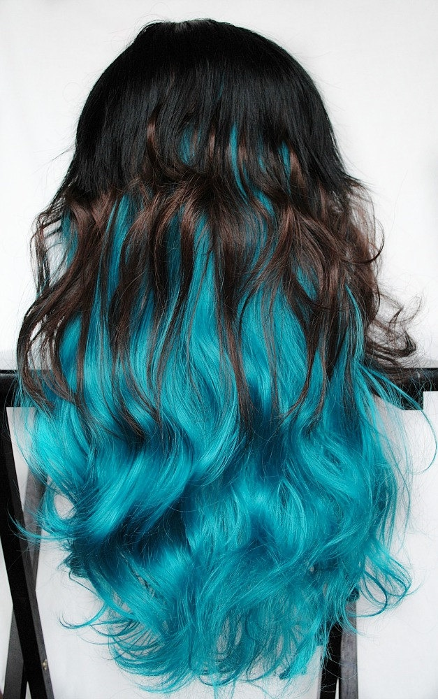 Feline blue wig black brown turquoise teal hair What color is teal