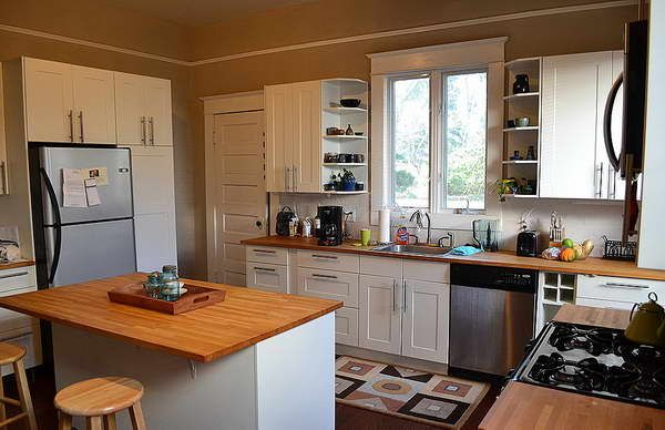 Kitchen, The Traditional Ikea Kitchen Review Also Beautiful Wooden Countertop Aso Wooden Chair Also Beautiful Glass Window Also White Cabinet: The Nice Design Of The Ikea Kitchen Reviews With The Best Decoration