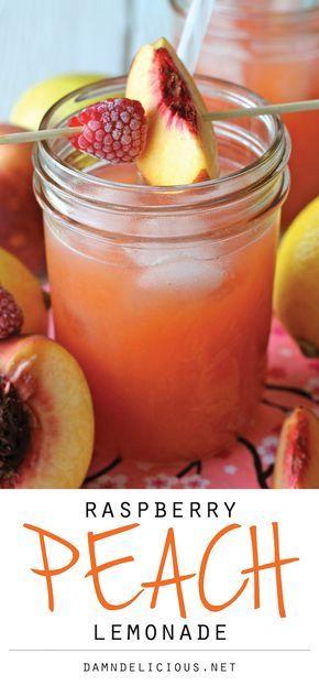 Raspberry Peach Lemonade - Fresh raspberries and peaches add such a wonderfully fruity flavor in this refreshing drink!