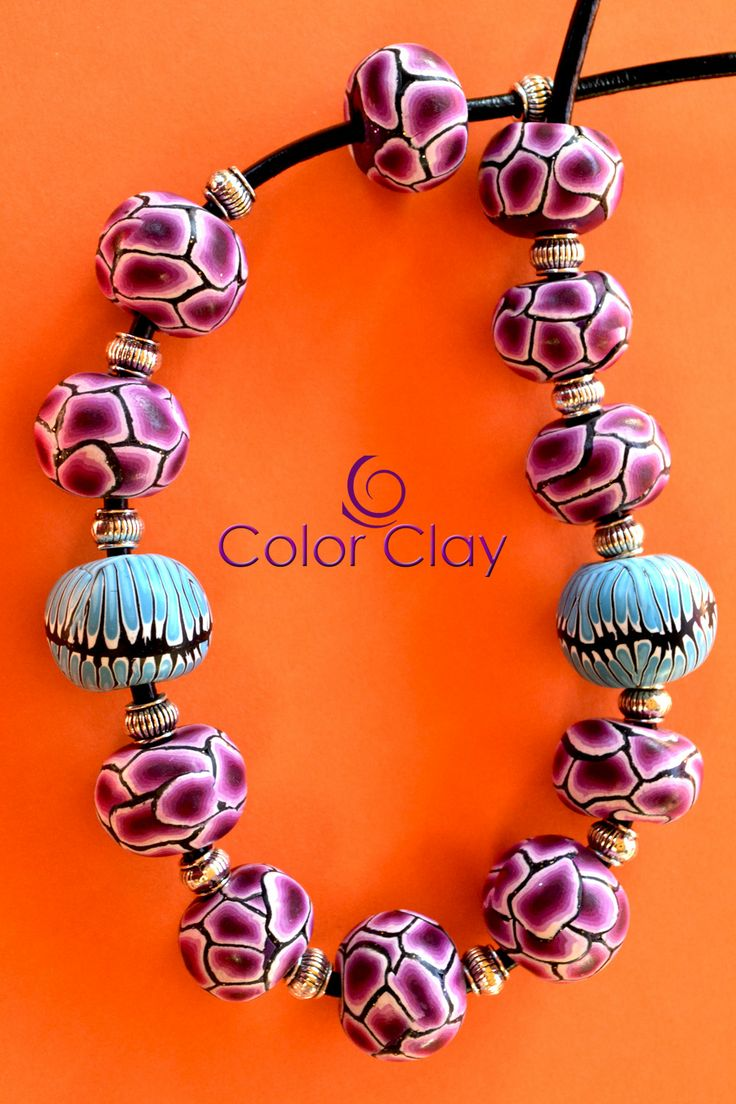 collar, necklace in polymer clay.