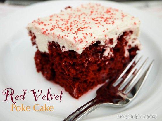 Red Velvet Poke Cake. Incredibly easy, delicious recipe for red velvet cake.