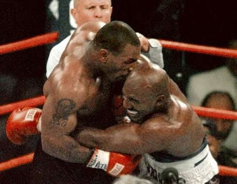 Tyson and Holyfield fought on June 28, 1997. The most controversial event in modern sports, the fight was stopped at the end of the third round, with Tyson disqualified for biting Holyfield on both ears.