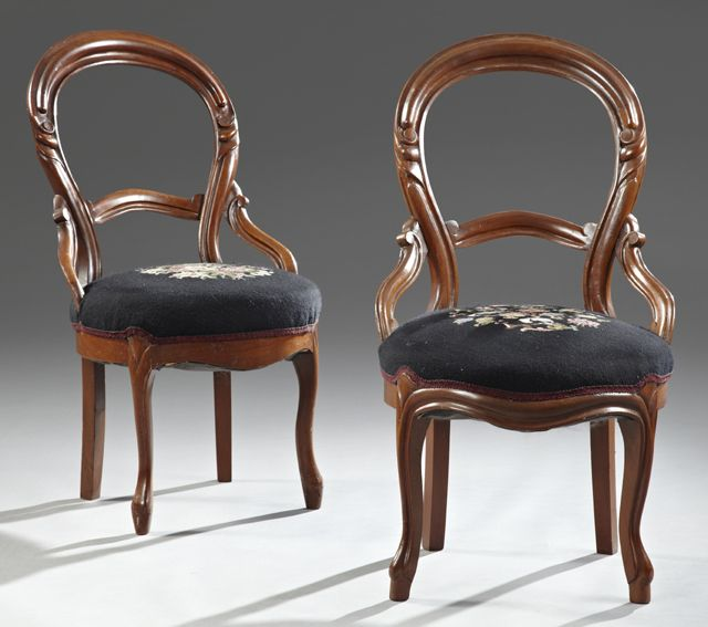 Pair Of Victorian Carved Mahogany Balloon Back Side Chairs With Needlepoint Seats, On Cabriole Legs To Toupie Feet   c.19th Century - I have these chairs in my livingroom - CLW