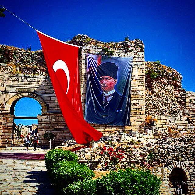 A huge Turkish flag and a poster of Mustafa Kemal Ataturk were hanged on Saint John's Basilica for Turkish National day. Saint John's Basilica remains as one the most important spots in Selcuk, Turkey. Visit, enjoy and remember Saint John's Basilica with www.bestephesustour.com #ephesus #saintjohn #saint #stjohn #basilica #church #kusadasi #selcuk #izmir #aydin #cruise #tour #turkey #turkish #flag #ataturk #ephesustour #istanbul #privatetour #amazing #archaelogy #fun #guide #home #history…